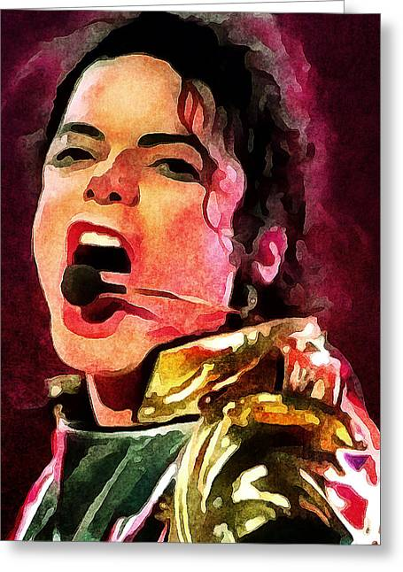 Michael Jackson Greeting Cards - Michael Jackson Live and Alive 2 Greeting Card by Yury Malkov