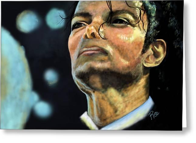 Jackson 5 Digital Art Greeting Cards - Michael Jackson Greeting Card by Maria Schaefers