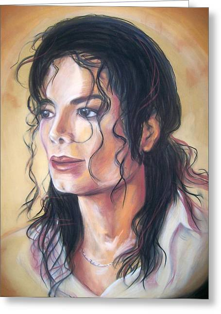 Pop Singer Pastels Greeting Cards - Michael Jackson Greeting Card by Martha Suhocke
