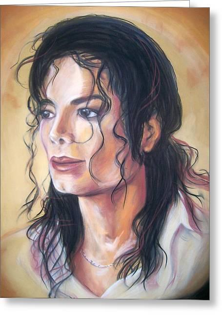 Jackson Pastels Greeting Cards - Michael Jackson Greeting Card by Martha Suhocke