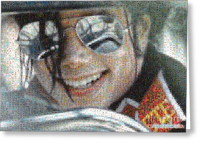 Michael Jackson Greeting Cards - Michael Jackson - Mosaic Greeting Card by Paulette B Wright