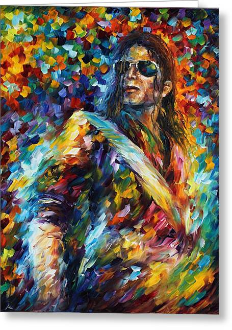 Super Stars Paintings Greeting Cards - Michael Jackson - Palette Knife Oil Painting On Canvas By Leonid Afremov Greeting Card by Leonid Afremov
