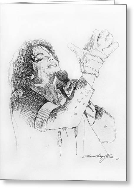 Pop Singer Greeting Cards - Michael Jackson Passion Sketch Greeting Card by David Lloyd Glover
