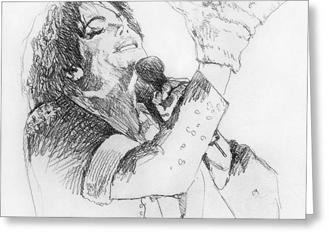 Michael Jackson Passion Sketch Greeting Card by David Lloyd Glover