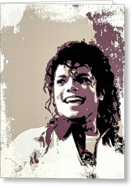 Jacko Greeting Cards - Michael Jackson Portrait Art Greeting Card by Florian Rodarte