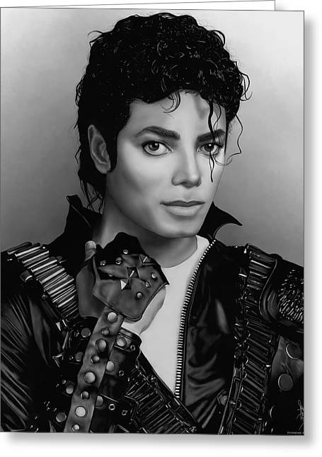 Smooth Criminal Greeting Cards - Michael Jackson Portrait Bad Era Greeting Card by Stephenie Bronger