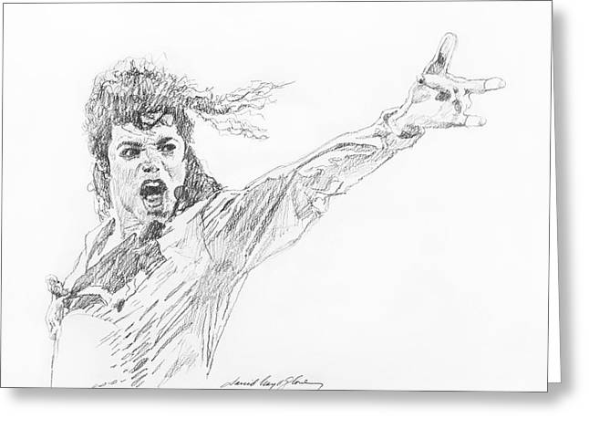 Featured Drawings Greeting Cards - Michael Jackson Power Performance Greeting Card by David Lloyd Glover