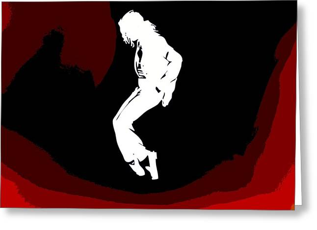 Beat It Greeting Cards - Michael Jackson Red Silhouette Greeting Card by Dan Sproul