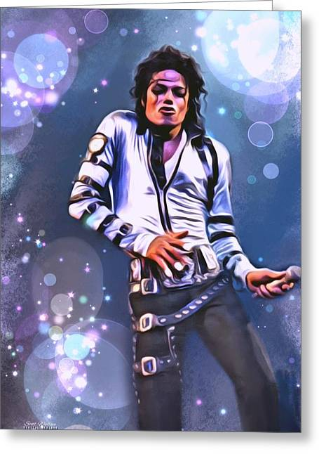 The King Of Pop Digital Art Greeting Cards - Michael Jackson Greeting Card by Scott Wallace