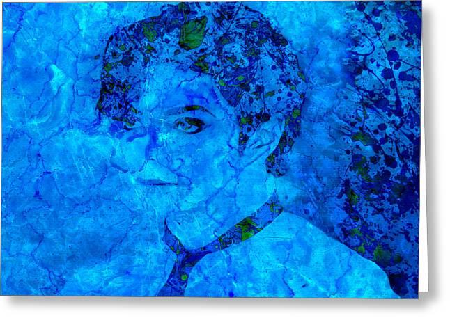 Jackson 5 Digital Art Greeting Cards - Michael Jackson Splats Blue Greeting Card by Brian Reaves
