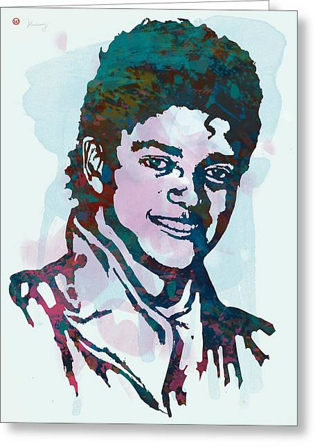 Businessmen Greeting Cards - Michael Jackson stylised pop art poster Greeting Card by Kim Wang