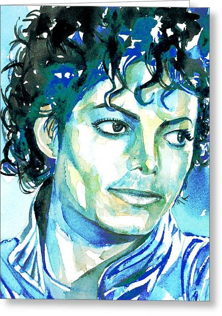 Michael Jackson Drawings Greeting Cards - MICHAEL JACKSON - watercolor portrait.1 Greeting Card by Fabrizio Cassetta
