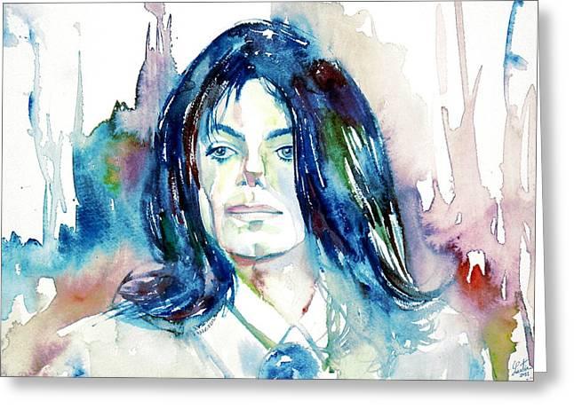 Michael Jackson Greeting Cards - MICHAEL JACKSON - watercolor portrait.10 Greeting Card by Fabrizio Cassetta