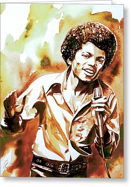 Young Michael Jackson Greeting Cards - MICHAEL JACKSON - watercolor portrait.18 Greeting Card by Fabrizio Cassetta