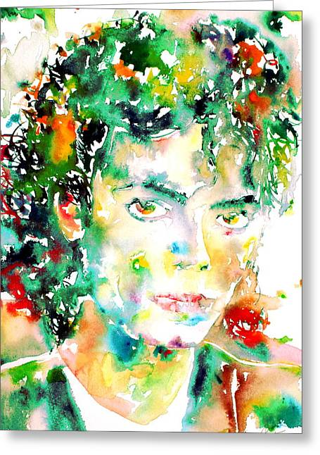 Michael Jackson Drawings Greeting Cards - MICHAEL JACKSON - watercolor portrait.4 Greeting Card by Fabrizio Cassetta