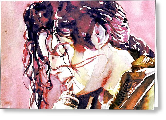 Michael Jackson On Stage Singing Greeting Cards - MICHAEL JACKSON - watercolor portrait.7 Greeting Card by Fabrizio Cassetta
