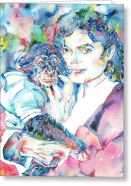 Chimpanzee Paintings Greeting Cards - MICHAEL JACKSON - watercolor portrait.9 Greeting Card by Fabrizio Cassetta