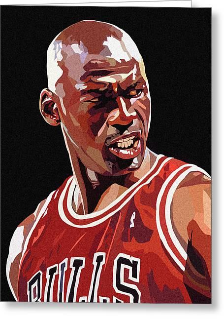 Michael Jordan Greeting Cards - Michael Jordan Greeting Card by Bollmann Benjamin