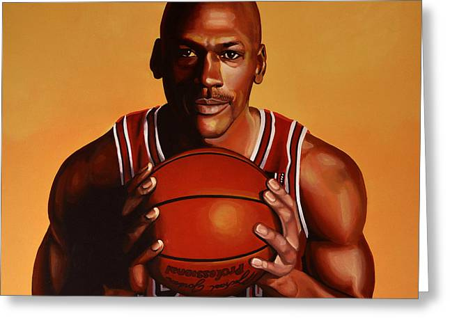 Slam Dunk Paintings Greeting Cards - Michael Jordan 2 Greeting Card by Paul Meijering