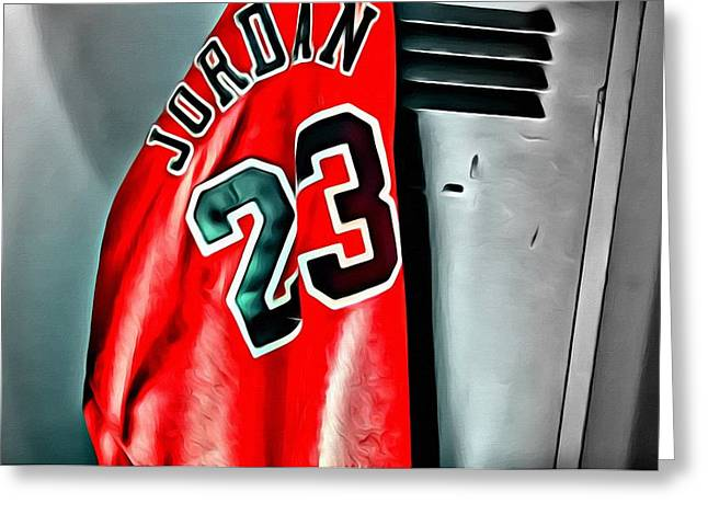 Chicago Bulls Greeting Cards - Michael Jordan 23 Shirt Greeting Card by Florian Rodarte