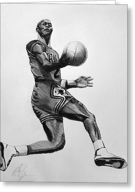 Jordan Drawings Greeting Cards - Michael Jordan Greeting Card by Adam Barone