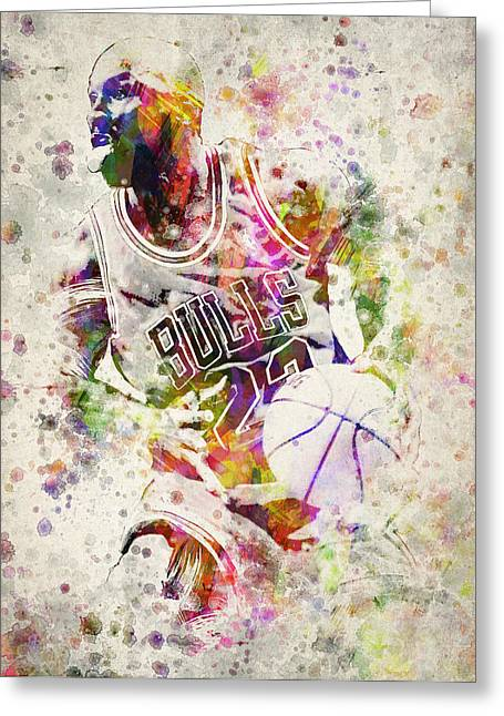 Playoff Greeting Cards - Michael Jordan Greeting Card by Aged Pixel