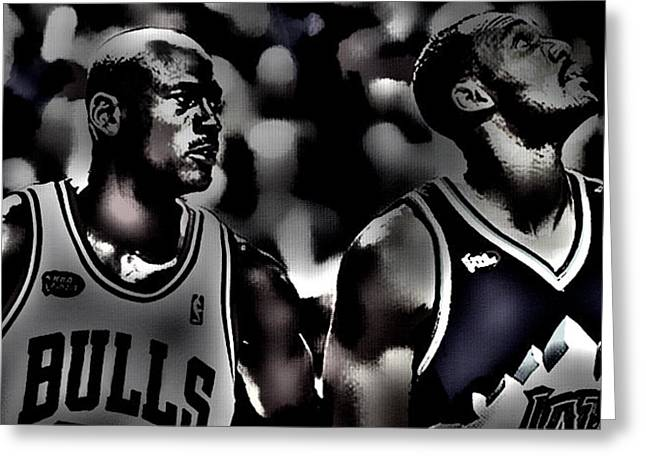 Patrick Ewing Greeting Cards - Michael Jordan and Carl Malone Greeting Card by Brian Reaves