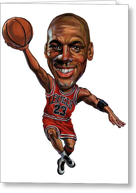 Basketball Paintings Greeting Cards - Michael Jordan Greeting Card by Art