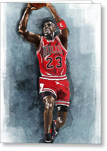 Michael Jordan Posters Greeting Cards - Michael Jordan artprint Greeting Card by Jessica Woolrich