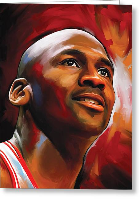 Nba Basketball Greeting Cards - Michael Jordan Artwork 2 Greeting Card by Sheraz A