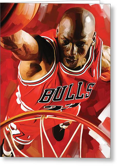 Nba Basketball Greeting Cards - Michael Jordan Artwork 3 Greeting Card by Sheraz A