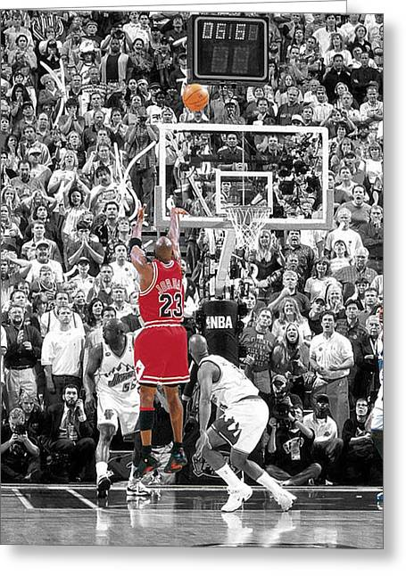 Athletes Greeting Cards - Michael Jordan Buzzer Beater Greeting Card by Brian Reaves