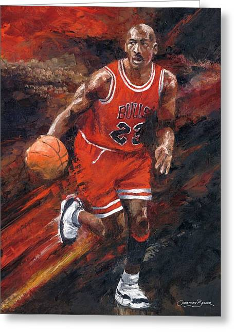 Chicago Bulls Greeting Cards - Michael Jordan Chicago Bulls Basketball Legend Greeting Card by Christiaan Bekker