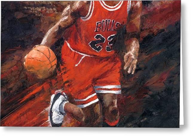 Michael Jordan Chicago Bulls Basketball Legend Greeting Card by Christiaan Bekker