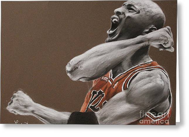 Basketball Pastels Greeting Cards - Michael Jordan - Chicago Bulls Greeting Card by Prashant Shah