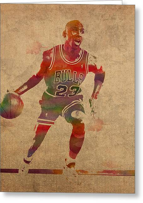 Chicago Bulls Mixed Media Greeting Cards - Michael Jordan Chicago Bulls Vintage Basketball Player Watercolor Portrait on Worn Distressed Canvas Greeting Card by Design Turnpike