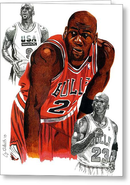 Chicago Bulls Greeting Cards - Michael Jordan Greeting Card by Cory Still