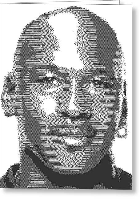 Michael Jordan Drawings Greeting Cards - Michael Jordan - Cross Hatching Greeting Card by Samuel Majcen