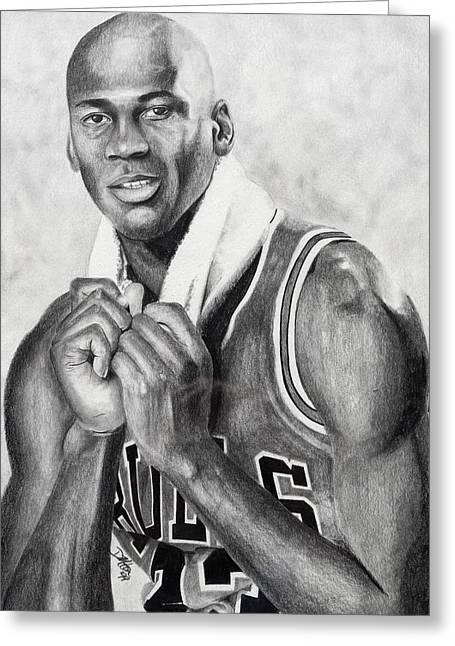 Chicago Bulls Drawings Greeting Cards - Michael Jordan Greeting Card by Devin Millington