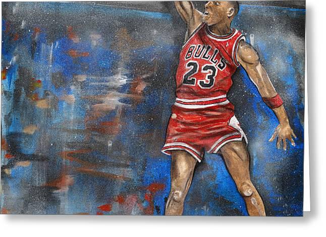 Michael Jordan Dunk Greeting Card by Charlie Palline