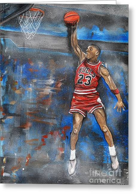 Michael Jordan Prints Greeting Cards - Michael Jordan Dunk Greeting Card by Charlie Palline