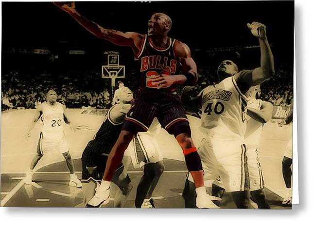 Michael Jordan Greeting Cards - Michael Jordan Easy Two Greeting Card by Brian Reaves