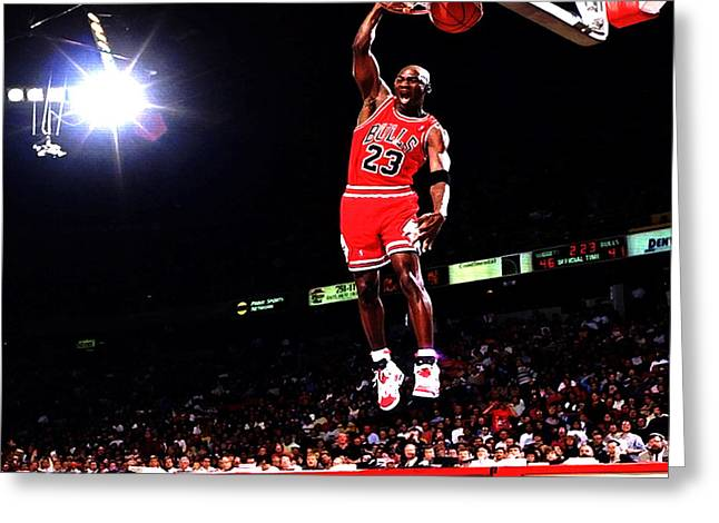 Michael Jordan Greeting Cards - Michael Jordan Fast Break Greeting Card by Brian Reaves