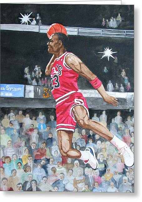 Famous Basketball Players Greeting Cards - Michael Jordan Greeting Card by Freda Nichols