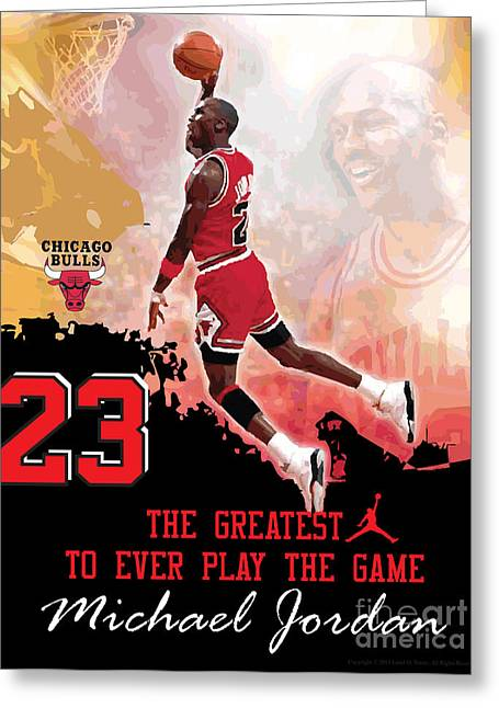 Michael Jordan Prints Greeting Cards - Michael Jordan Greatest Ever Greeting Card by Israel Torres