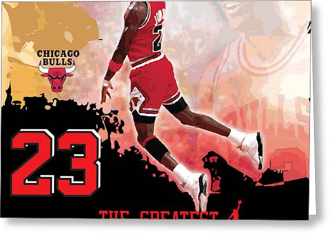 Michael Jordan Greatest Ever Greeting Card by Israel Torres