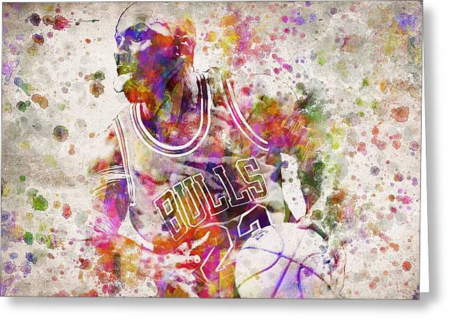 Playoff Greeting Cards - Michael Jordan in Color Greeting Card by Aged Pixel