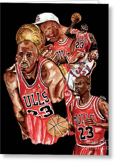 Slam Dunk Paintings Greeting Cards - Michael Jordan Greeting Card by Israel Torres