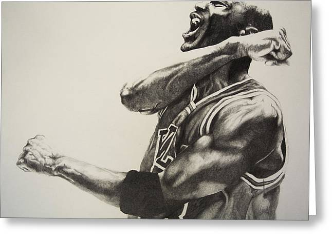 Basketball Drawings Greeting Cards - Michael Jordan Greeting Card by Jake Stapleton
