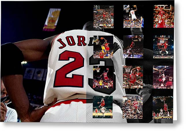 Basket Ball Greeting Cards - Michael Jordan Greeting Card by Joe Hamilton